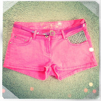 Neon Pink Studded Shorts With Belt UK 8
