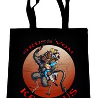 Gruss Vom Krampus on Black Tote Book Bag Gothic Christmas Gift Handbag