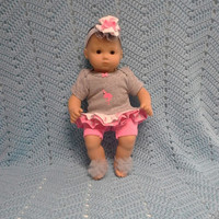 """AMERICAN GIRL Bitty Baby Clothes """"Flamingo Love"""" (15 inch) doll outfit  dress, shorts, footless sandals, and headband flamingo"""