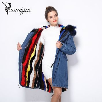 YOUMIGUE DHL Large Natural Real Raccoon Fur Parka 2017 Winter Jacket Women Real Rabbit Fur Lining Denim Jacket Female Parka