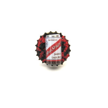 Beer Can bottle cap ring with red and black by SassyBelleWares
