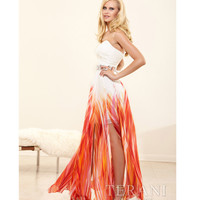 Terani 2014 Prom Dresses - Orange Multi Strapless Prom Dress