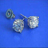 1.83ct E Color Diamond Earrings studs 18kt white Gold JEWELFORME BLUE 900,000 GIA EGL certified diamonds