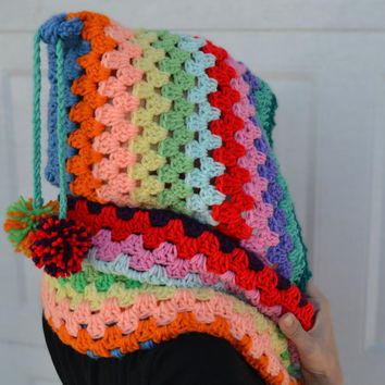 Crocheted rainbow hooded cowl, scarf neck warmer, pixie hat