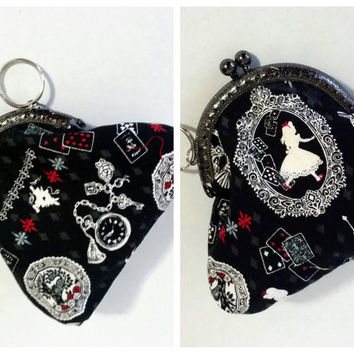 Alice in wonderland coin purse, vintage coin purse, metal frame coin ourse, cameo alice fabric