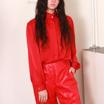 Satin Red Button Down / M