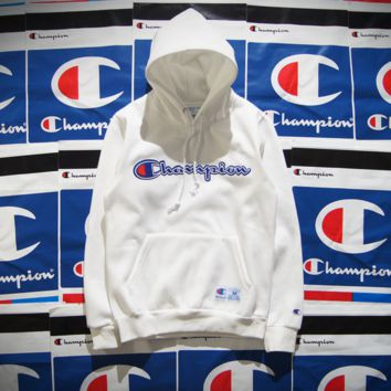 Champion Patchwork Embroidered Hooded Hooded Cotton Velvet Hooded Sweater Jacket for boys and girls White