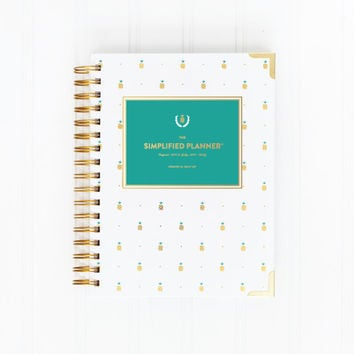 2015-2016 ACADEMIC DAILY Simplified Planner - Gold Pineapple