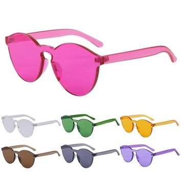 Clear Frame Candy Colored Sunglasses