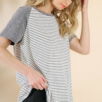 Black Unfinished Hem Short Sleeve Top