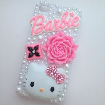 Cute Pink Barbie  Kitty Crystallised Bling iPhone 4/4s Protective Cell Phone Case Cover
