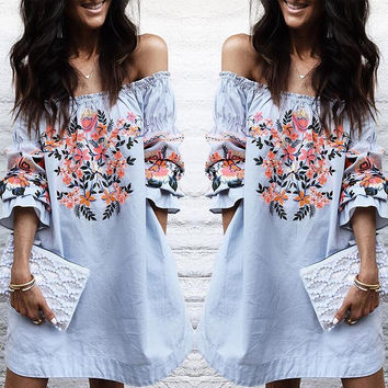 Pale Blue Floral Off Shoulder Loose Dress