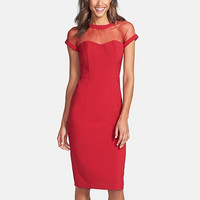 Red Mesh Zipper-Back Bodycon Dress