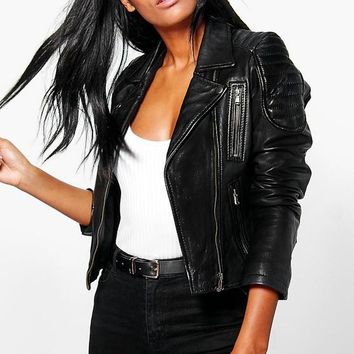 Boutique Emily Zip Detail Leather Jacket   Boohoo