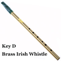 Brass Irish Whistle D key Ireland Flute Feadog Tin whistle Metal Pocket Feadan 6Hole Musical Instrument Traditional Flauta