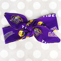 LSU TIGERS  Purple & Gold - Adult Dolly REVERSIBLE Tie Up Headscarf Headband Bandana Hair Accessory Bow Head Scarf - Louisiana State Tiger