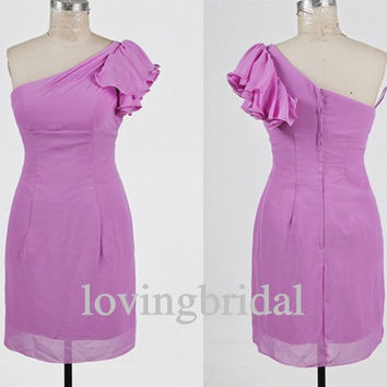 2014 Short Lilac Chiffon One-shoulder Prom Dress Bridesmaid Dress Party Dress Simple Homecoming Dress Formal Prom Dress Custom