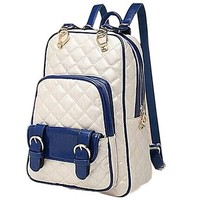 British Style Quilted Lining Backpack School Bag