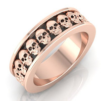 Skull Wedding Band 10 k Rose Gold