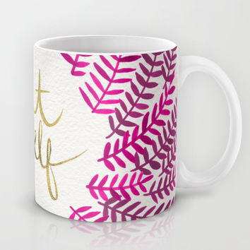 Treat Yo Self – Pink & Gold Mug by Cat Coquillette