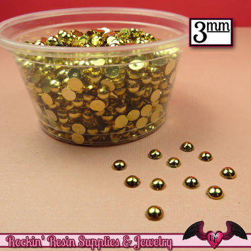 300 pcs 3 mm GOLD Tone HALF PEARLs
