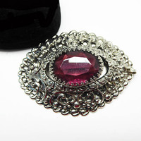 Oval Silver Tone & Purple Brooch / Pendant - Repousse Style Frame and Purple Amethyst Glass Dome - Filigree Style Vintage 1960's Victorian