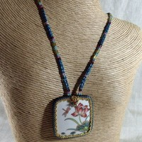 Meditation on Transformation-Dragonfly Lotus Flower Beadwoven Necklace