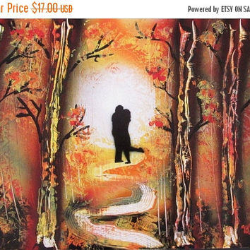 ON SALE original painting,romantic gift for her,happy couple,love couple,spray paint art,christmas gift for her,landscape wall art,poster,gi