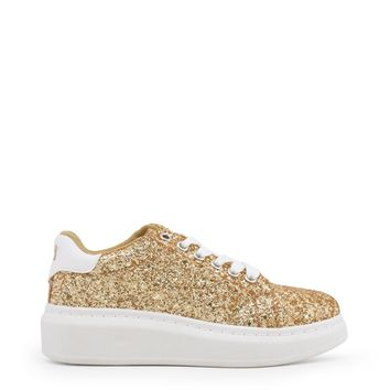 Xti Yellow Glitter Round Toe Sneakers