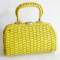 Vintage 50s Bright Yellow Woven Rockabilly Gal Summer Time Handbag Purse