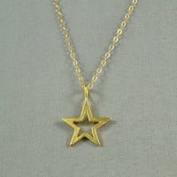 Openwork Star Necklace, 18K Gold Vermeil, 14K Gold Filled Chain, Modern, Simple, Everyday Wear Jewelry