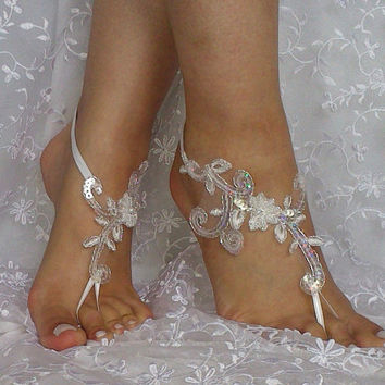 Free shipping beach shoes Unique design bridal sandal beaded sequins    barefoot sandals, bangle, wedding anklet, anklet, bridal, wedding