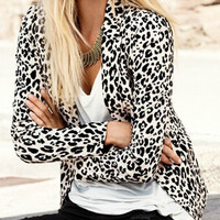 Leopard Printed Long Sleeve Blazer