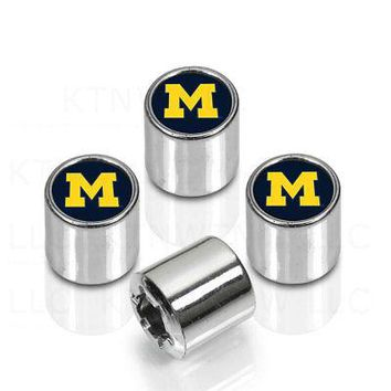 Licensed Official NCAA Michigan Wolverines Car Truck Plastic Chrome Finish Tire Valve Stem Caps