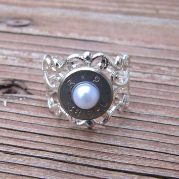 38 Special Bullet Ring with White Pearl Accent - Small Thin Cut - Girls with Guns