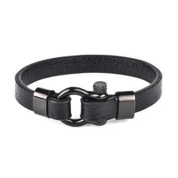 Stainless Steel Black Leather Bracelet - Horseshoe Buckle