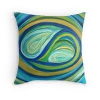 'Yin & Yang | Abstract Oil Painting' Throw Pillow by Maria Meester