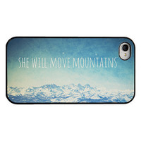Iphone case - Iphone 4 and 4s case - quote iphone case - she will move mountains - mountain iphone case - blue iphone case - girly