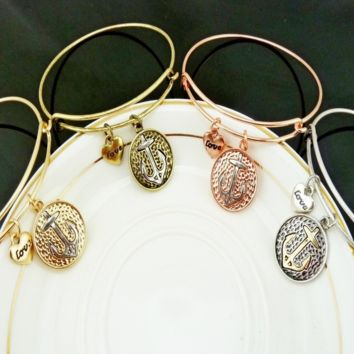 Alex and Ani style ship's anchor pattern pendant charm bracelet,a perfect gift !