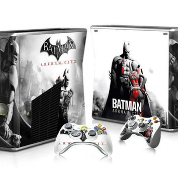 Superb Batman PVC Decal Skin Stickers Protector for Microsoft X box 360 Slim Console and 2 Controllers Cover Skin Stickers