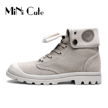 Unisex Fashion  Boots Male Canvas Shoes Palladium Style Ankle Botas Men's Casual Shoes Cowboy Motorcycle Booties