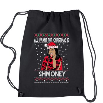 All I Want For Christmas Is Shmoney Ugly Christmas Drawstring Backpack