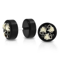 Bling Jewelry Black Acrylic Three Skulls Fake Cheater Plug Earrings 316L Steel
