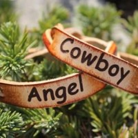 millerleather.com- Hardy, AR.    Home of quality handmade leather goods and accessories...Personalized Free! - Couple's Bracelet Set--Cowboy and Angel (Powered by CubeCart)