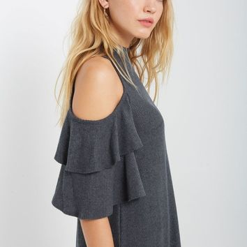 Reagan Cold Shoulder Sweater Swing Dress