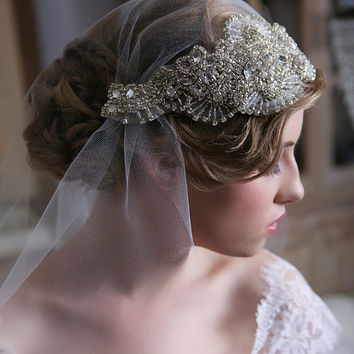 Art Deco Veil, Silver Swarovski Crystal Veil, Tulle Cap Veil with detachable headpiece, Bridal Veil, Crystal Juliet Cap Veil, STYLE 127