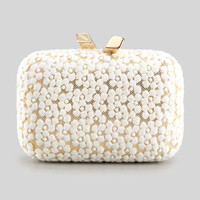Margo Embroidered-Floral Lace Minaudiere, white