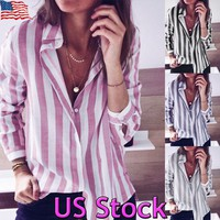 Women OL Button Down Long Sleeve Lady Tops Office Boyfriend Shirts Casual Blouse