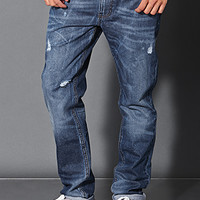 Distressed Medium Wash - Straight Leg Jeans Medium Denim