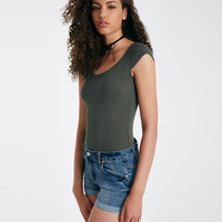Lace-Up Back Ribbed Bodysuit | Wet Seal